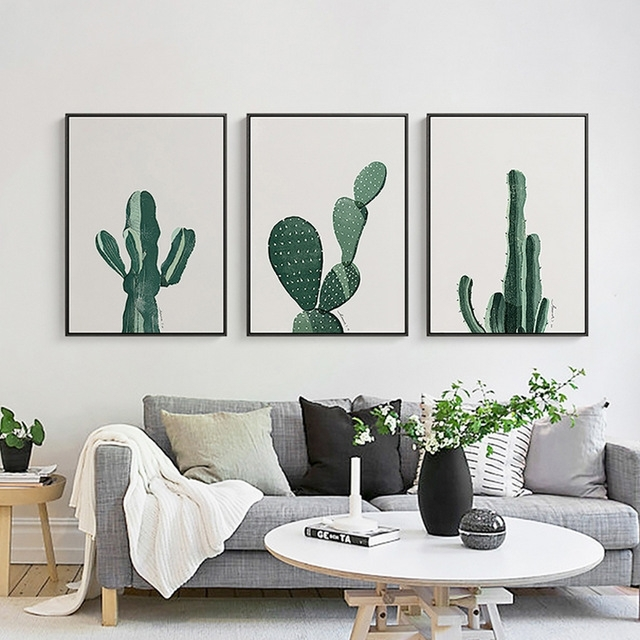 Nordic Minimalist Cactus Canvas Wall Art Poster Paintings Pop Art Throughout Cactus Wall Art (Image 15 of 20)