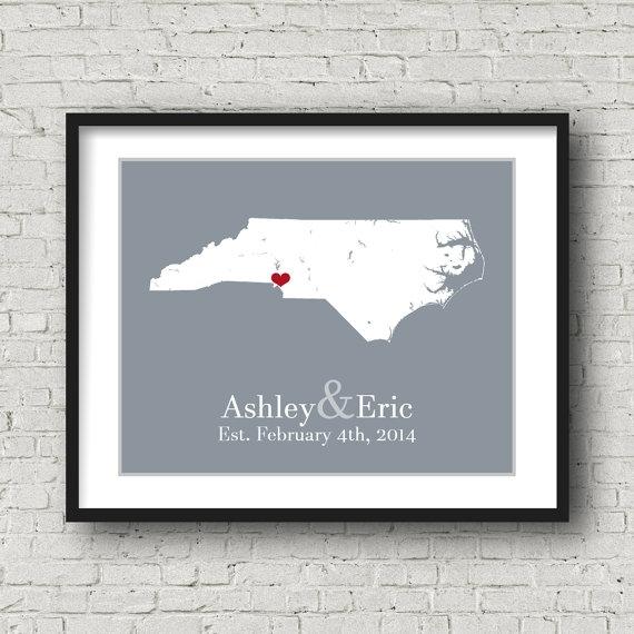 North Carolina Art North Carolina Wall Artpersonalizedmaps Throughout North Carolina Wall Art (Image 5 of 20)