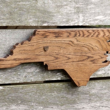 North Carolina State Shape Wood Cutout From State Your Love With Regard To North Carolina Wall Art (View 2 of 20)