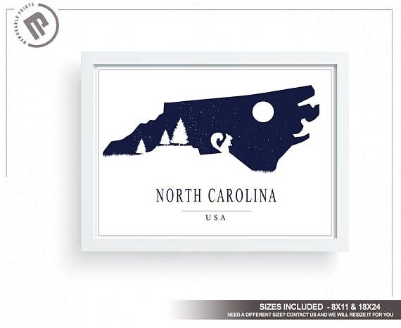 North Carolina Wall Art Large Wall Art Wall Decor Wall | Posters With Regard To North Carolina Wall Art (Image 12 of 20)