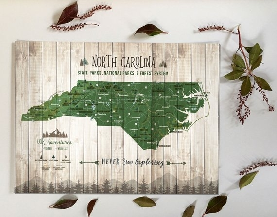North Carolina Wall Art State Parks Checklist North Carolina | Etsy In North Carolina Wall Art (Image 15 of 20)