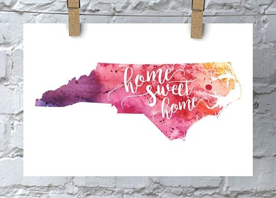 North Carolina Wall Art Watercolor Map Home Decor Home Sweet | For Pertaining To North Carolina Wall Art (View 12 of 20)