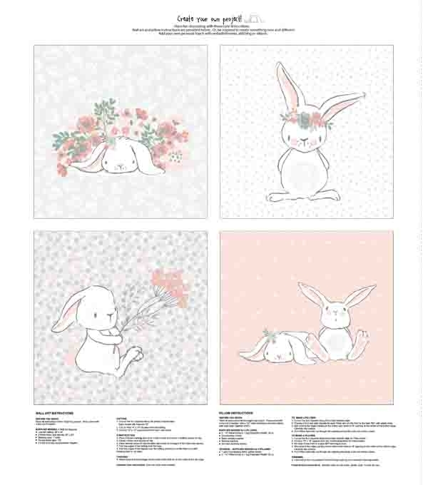 Nursery Fabric Panel 36''x43'' Bunny Wall Art | Joann Intended For Bunny Wall Art (Image 14 of 20)