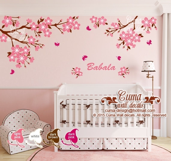 Nursery Wall Decal ,cherry Blossom Wallcuma Wall Decals On Zibbet With Cherry Blossom Wall Art (View 13 of 25)