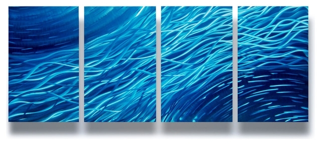 """Ocean"""" 4-Panel Metal Wall Art Decor, 63""""x24"""" - Modern - Wall Decor for Ocean Wall Art"""