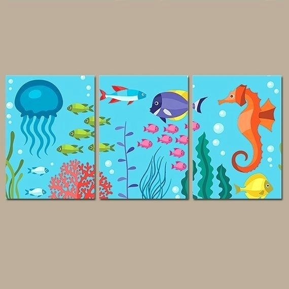 Ocean Bathroom Wall Art Nautical Under The Sea Life Girl Boy Fish Throughout Sea Life Wall Art (View 5 of 10)