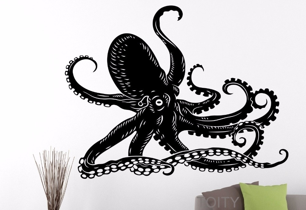 Octopus Sticker Tentacles Sprut Sea Ocean Animal Wall Art Vinyl intended for Octopus Wall Art