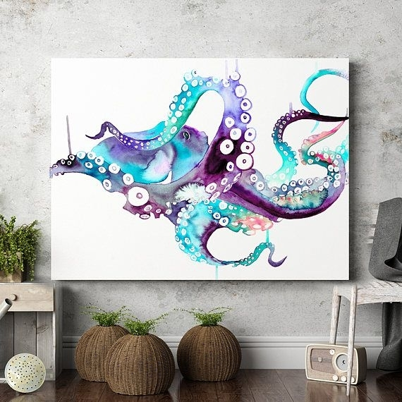 Octopus Wall Art Print Poster Watercolor Painting Animal with Octopus Wall Art