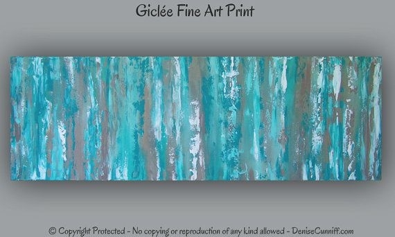 Office Decor, Large Aqua Teal Abstract Art Print, Teal Wall Art In Teal Wall Art (Image 6 of 10)