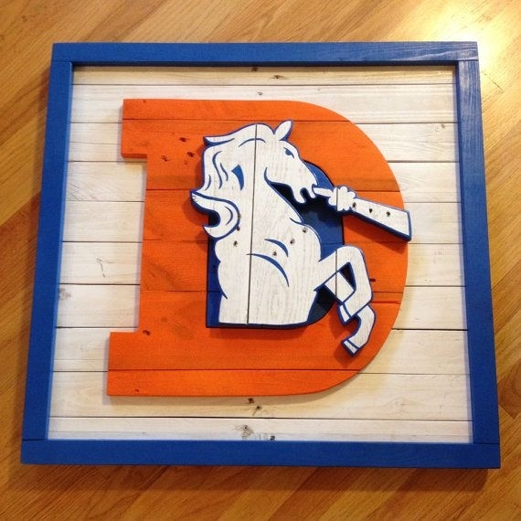 Old School Denver Broncos Logo Wall Art Made From Pallet Wood On Inside Broncos Wall Art (Image 20 of 20)