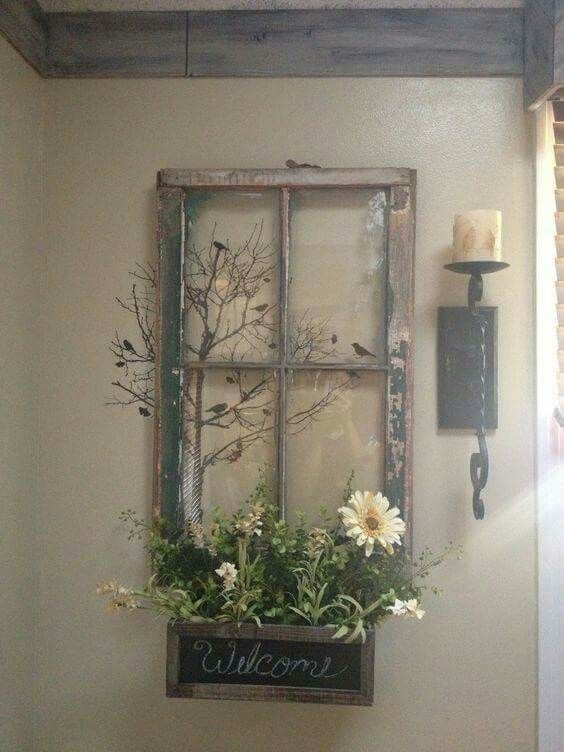 Old Window Frame Decor   Diy   Pinterest   Window Frame Decor Pertaining To Window Frame Wall Art (Image 4 of 10)