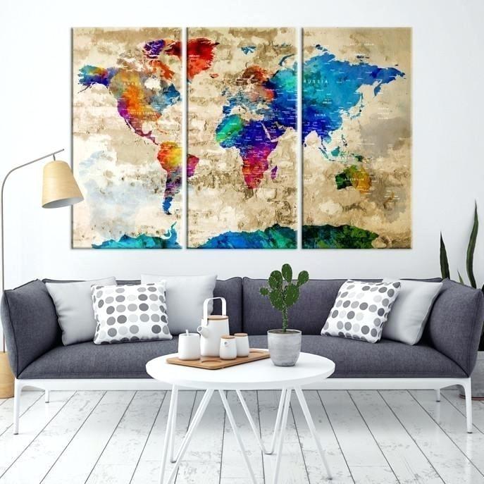 25+ Choices of Diy World Map Wall Art | Wall Art Ideas