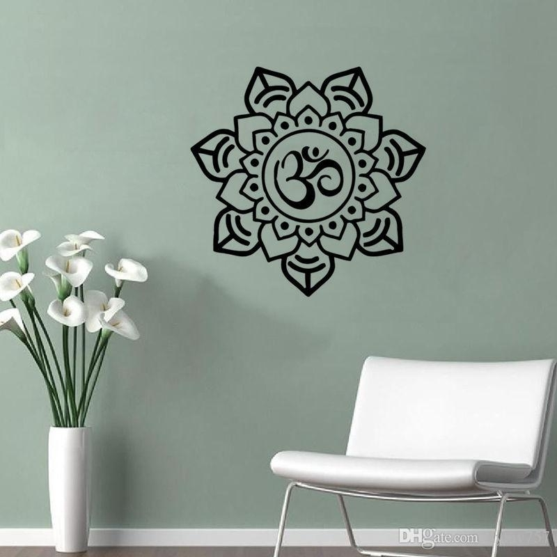 Om Sign Home Decor Mandala Wall Sticker Art Pvc Hollow Out Indian In Mandala Wall Art (Image 22 of 25)