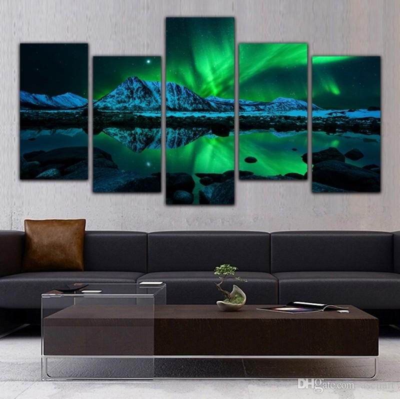 Online Cheap 5 Panel Canvas Art Aurora Borealis Sea Wave Canvas with Panel Wall Art