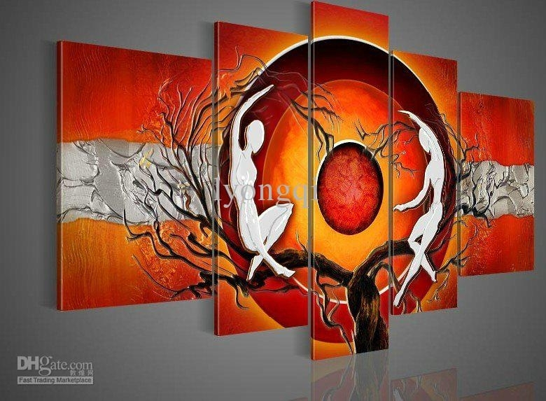 Online Cheap Hand Painted Hi Q Modern Wall Art Abstract Home In Orange Wall Art (Image 14 of 25)