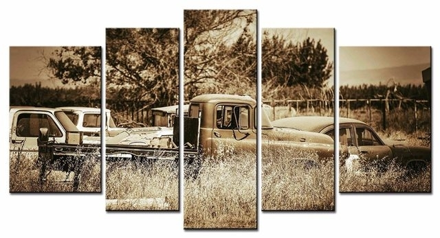 Online Shop 5Pcs/set Framed Canvas Wall Art Picture Vintage Car Within Car Canvas Wall Art (View 9 of 25)