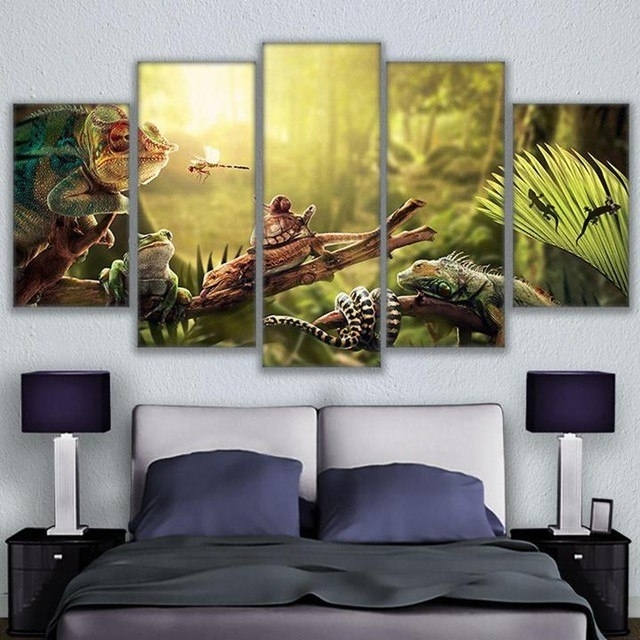 Online Shop Canvas Wall Art Home Decor Prints Poster 5 Pieces Iguana Intended For Gecko Canvas Wall Art (View 10 of 20)
