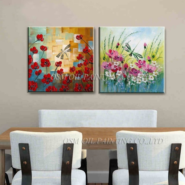 Online Shop Hand Painted Knife Flowers Oil Paintings Abstract Regarding Dragonfly Painting Wall Art (Image 21 of 25)
