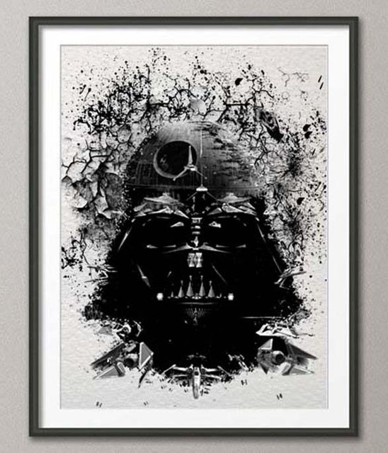 Online Shop Original Watercolor Darth Vader Print Canvas Painting Inside Darth Vader Wall Art (Image 15 of 25)