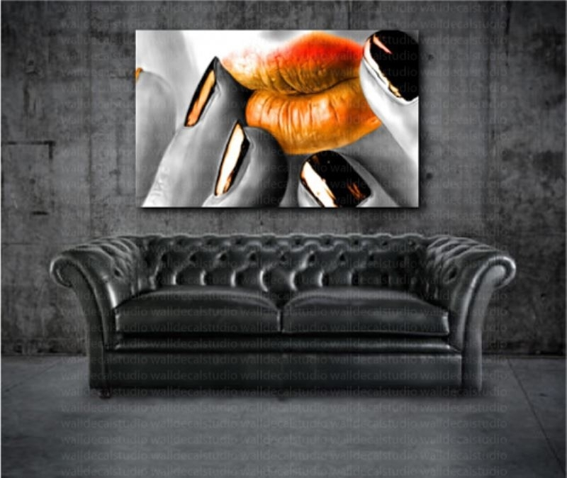 Orange Lips Modern Canvas Home Wall Art Print Decor intended for Orange Wall Art