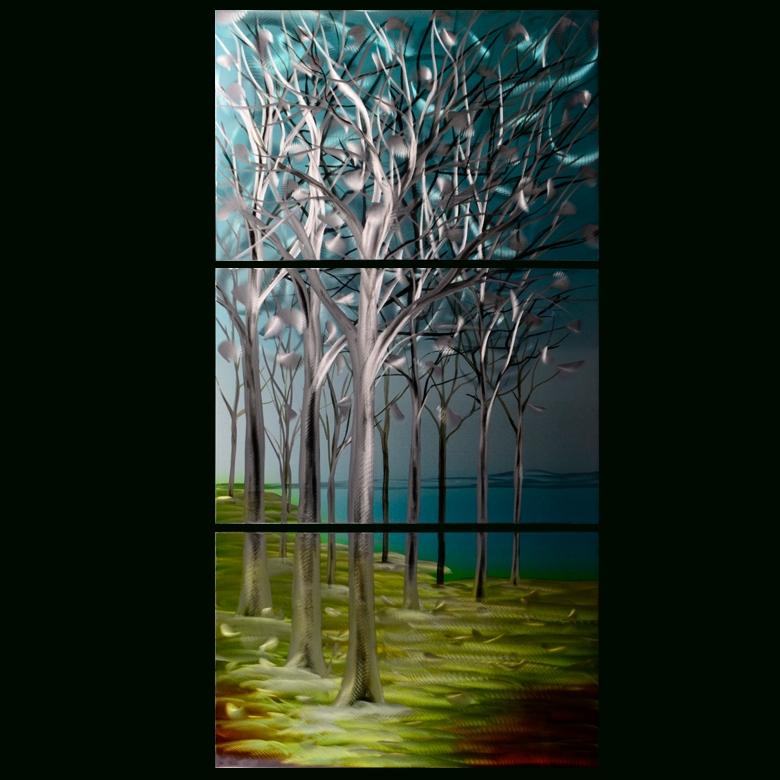 Orchards' 3 Piece Set Vertical Metal Wall Art | Brushed Aluminum with Vertical Metal Wall Art