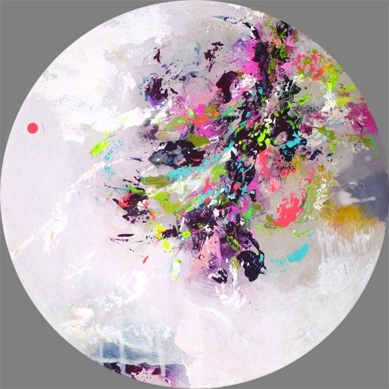 Original Abstract Painting, Round Painting, Round Wall Art, Round in Round Wall Art