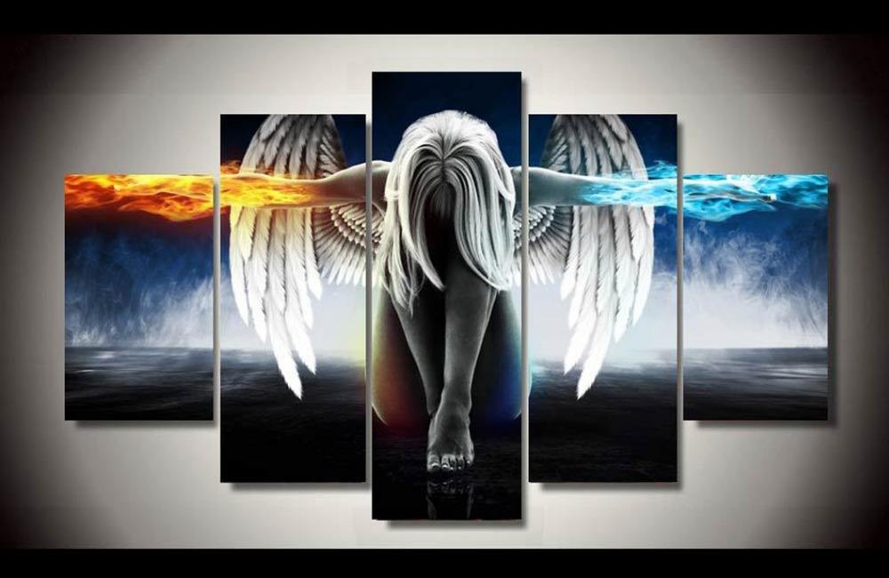 Original Ink Painting 5 Panels Canvas Print Girl Of Angel Painting Within Five Piece Canvas Wall Art (Image 19 of 20)