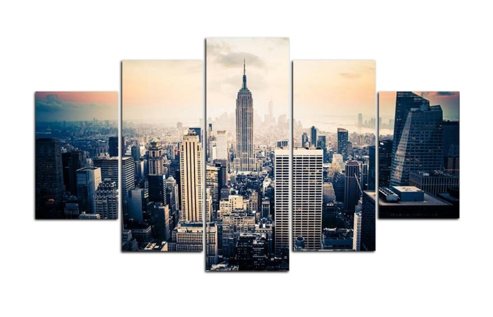 Original Oil Ink Print 5 Pieces Canvas Print New York View Painting Pertaining To New York Canvas Wall Art (View 7 of 10)