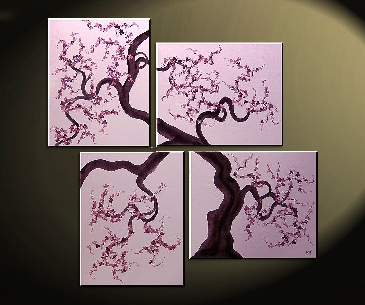 Original Painting Cherry Blossoms Wall Art Pink And Purple Flowers For Cherry Blossom Wall Art (View 25 of 25)