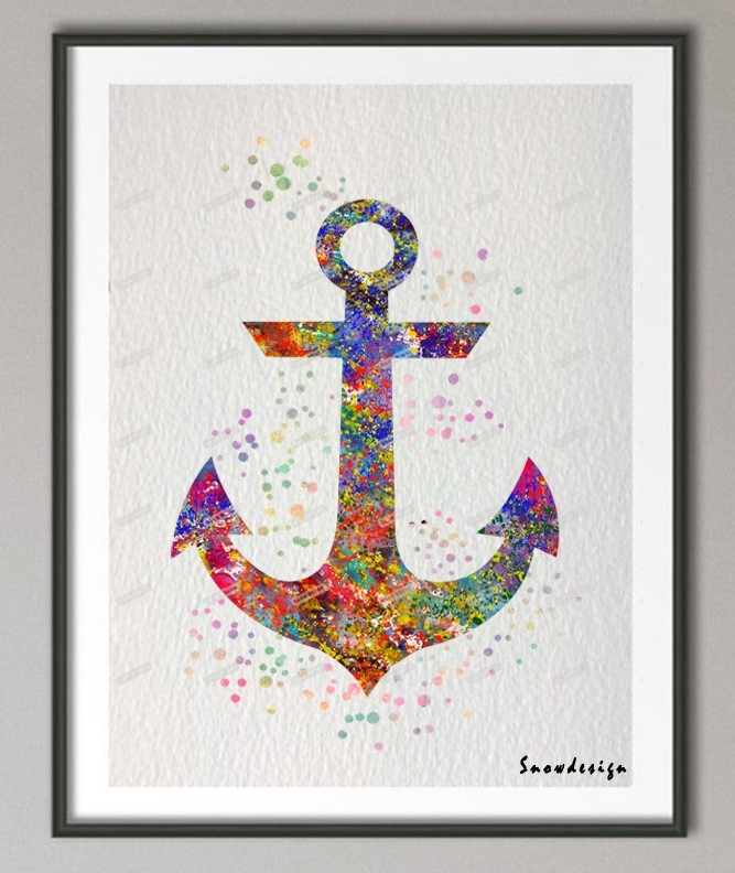 Originl Awatercolor Anchor Canvas Painting Wall Art Poster Prints Pertaining To Anchor Wall Art (View 19 of 25)