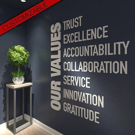 Our Values, Office, Wall, Art, Decor, 3D, Pvc, Typography pertaining to Office Wall Art