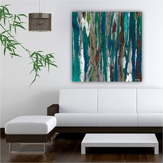 Oversized Extra Large Blue Teal Canvas Print Wall Art Abstract Trees within Oversized Teal Canvas Wall Art