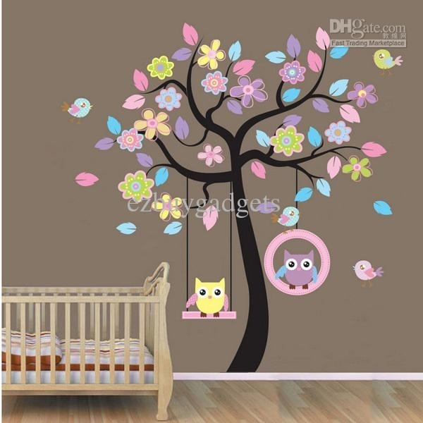 Owl On Swing Birds Flowers Tree Wall Art Decor Decals Kids Nursery Pertaining To Baby Room Wall Art (Image 18 of 20)