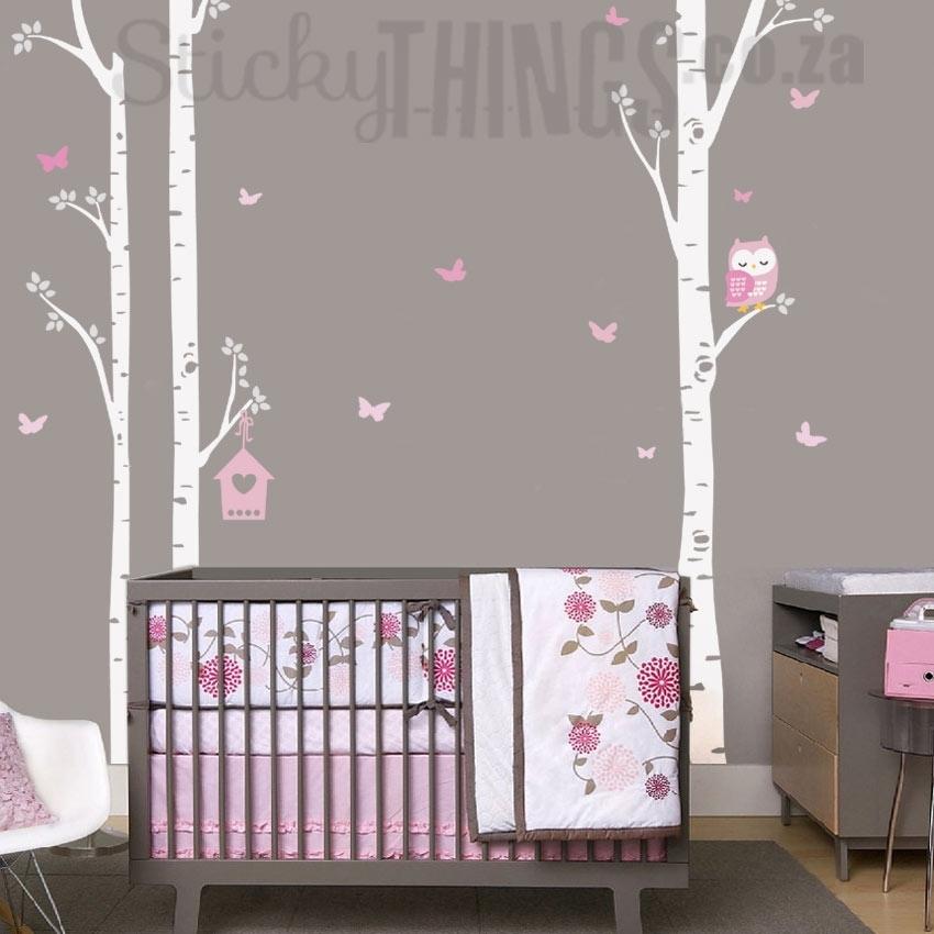 Owl Trees Wall Art Sticker – Owl Birch Trees Wall Decal Inside Birch Tree Wall Art (Image 22 of 25)