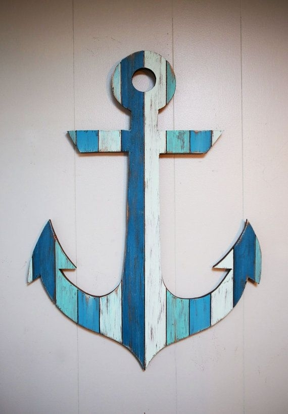 """Painted Anchor Wall Art 29"""" 