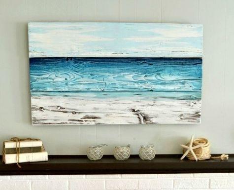 Painted Old Wood Ocean Wall Art | Coastal Decor Ideas | Pinterest Inside Ocean Wall Art (View 9 of 25)