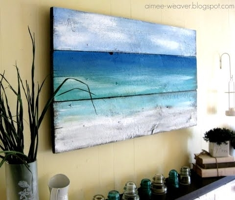 Painted Old Wood Ocean Wall Art | Diy Or Shop – Coastal Decor Ideas Pertaining To Ocean Wall Art (Image 19 of 25)