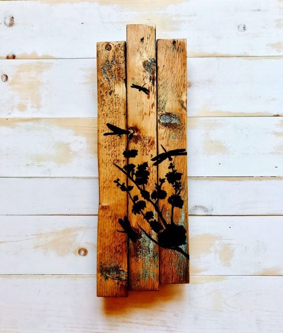 Painted Wood Wall Art Dragonfly Painting Rustic Dragonfly Painting Regarding Dragonfly Painting Wall Art (Image 22 of 25)
