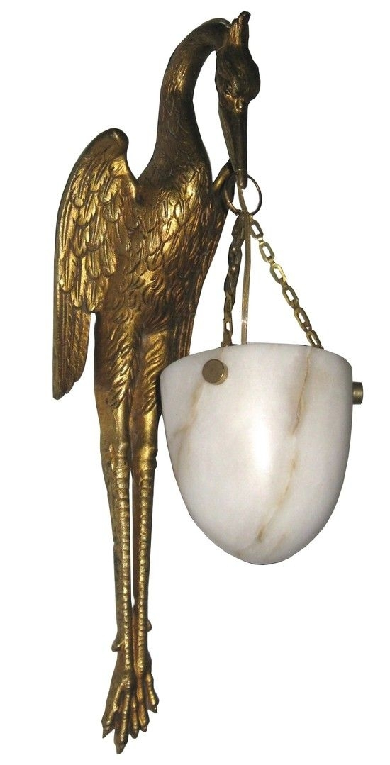 Pair French Art Deco Bronze Dore And Alabaster Stork Wall Sconces With Regard To Art Deco Wall Sconces (Image 16 of 25)