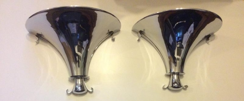 Pair Of Art Deco Chrome Wall Sconces From Claridges Hotel Mayfair With Art Deco Wall Sconces (Image 18 of 25)