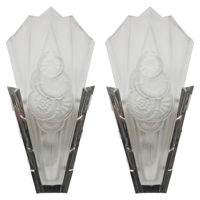Pair Of French Art Deco Wall Sconces Signeddegue For Sale At 1Stdibs With Art Deco Wall Sconces (View 10 of 25)