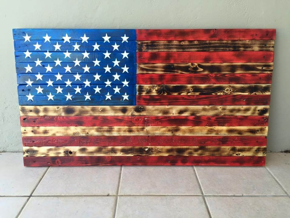 Pallet American Flag Wall Art Pallet Furniture Diy, Wooden American Throughout Wooden American Flag Wall Art (Image 6 of 25)