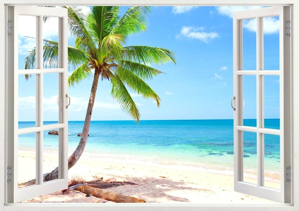 Palm Tree Wall Art Palm Tree Beach Wall Decal Window Tropical Beach Throughout Palm Tree Wall Art (View 25 of 25)