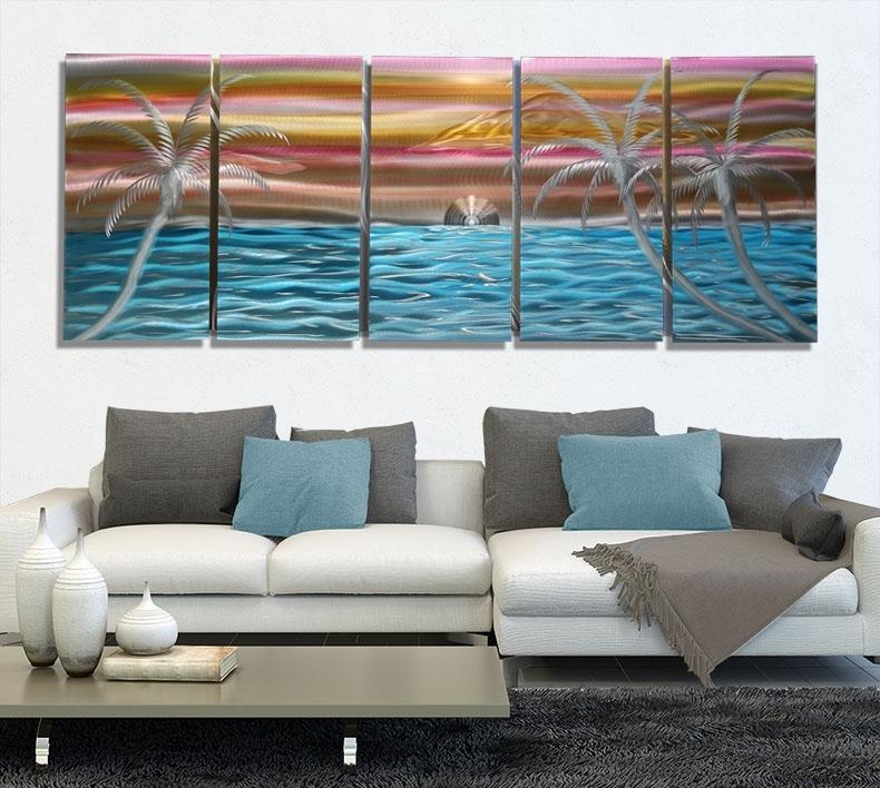"Palms Of Paradisejon Allen Xl – 84"" X 36"" Throughout Orange Wall Art (Image 22 of 25)"