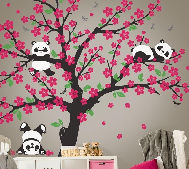 Panda Bear Cherry Blossom Tree Wall Decal | In An Instant Art Pertaining To Cherry Blossom Wall Art (View 19 of 25)