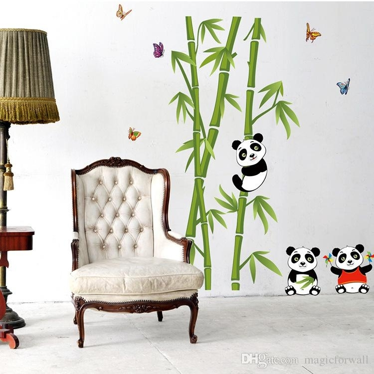 Panda Playing Around Bamboos Wall Art Mural Decal Cute Panda Bamboo Pertaining To Bamboo Wall Art (Image 21 of 25)