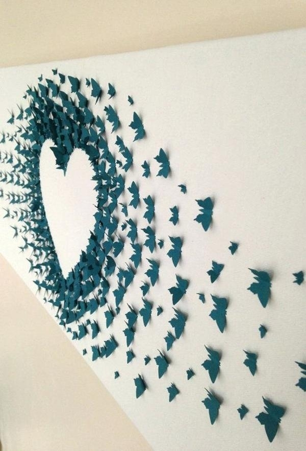 Paper Wall Decorations Butterfly Paper Art Wall Decoration Ideas In Paper Wall Art (Image 24 of 25)