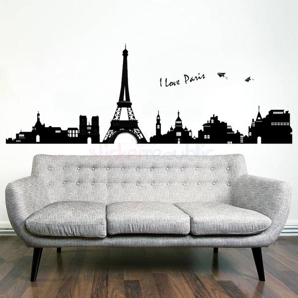 Paris City Skyline Eiffel Tower Wall Decal Wall Sticker Pertaining To Paris Wall Art (Image 4 of 10)
