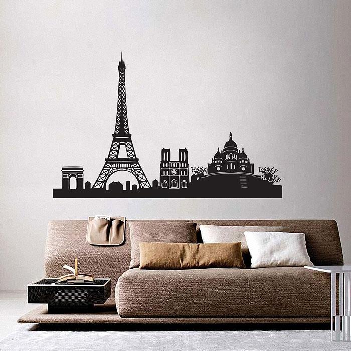 Paris City Skyline Vinyl Wall Art Decal Inside Paris Wall Art (View 3 of 10)