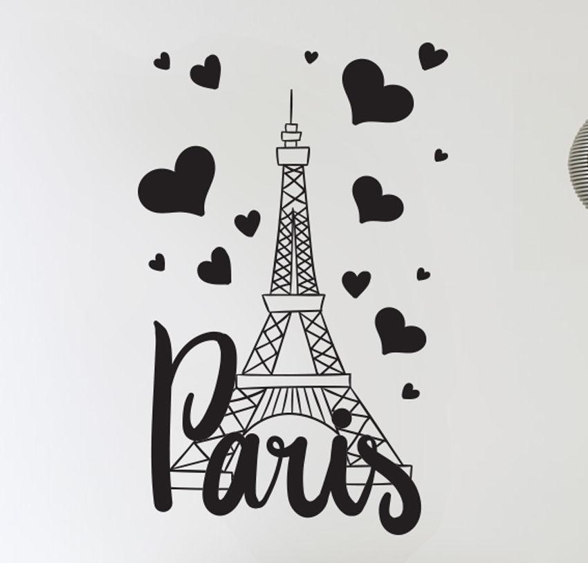 Paris France Eiffel Tower Love Wall Art Decal Decor Vinyl Sticker Mural With Paris Wall Art (Image 6 of 10)